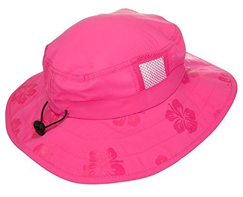 Sun Protection Zone Kids' UPF 50+ Safari Sun Hat, Pink Flowers, Uv Sun Protective, Lightweight, Velcro Straps, One Size