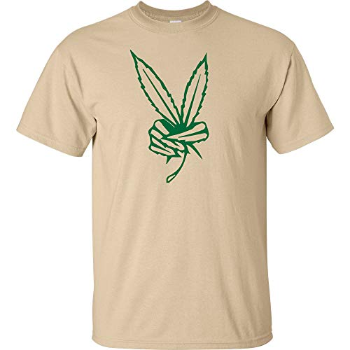 Peace Sign Pot Leaf Logo Cannabis T Shirt 420 Pot Smoker Weed Short Sleeve Marijuana Smoke Indica Pot Leaf Taking Hits From The bong Hybrid Blunt High