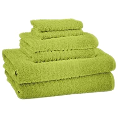 6 Piece 100-Percent Ring Spun USA Cotton Bathroom Towel Set, Tender Shoots Green