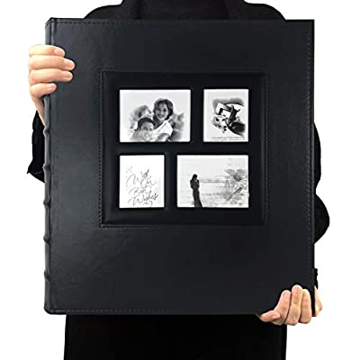 RECUTMS Photo Album 4x6 600 Photos Black Pages Large Capacity Leather Cover Wedding Family Photo Albums Holds 600 Horizontal and Vertical Photos