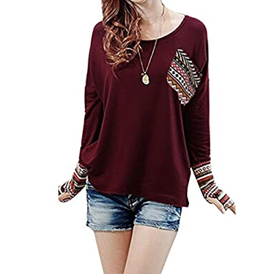 2019 Women's Blouse Patchwork Tops Casual Loose T-Shirts With Thumb Holes by TOPUNDER supplier