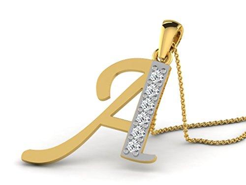 Or Jaune 9 ct Pendentifs Diamant en forme de Un alphabet, 0.13 Ct Diamant, GH-SI, 0.69 grammes.