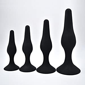 Hiti 4 Pcs 4 Size Waterproof Silicone A-nal B-utt P-lug, Smooth Comfortable A-nal Trainer Exercise Toy Beginner Kits for Man Women