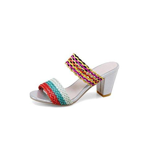Cuero Hebilla Zapatos Pie Vestido Del Ocasional De Sintético Dedo Gruesa Un Toe Y Peep Mujer Noche Sandalias El Fiesta Caminar Verano Para ES8qSrWva