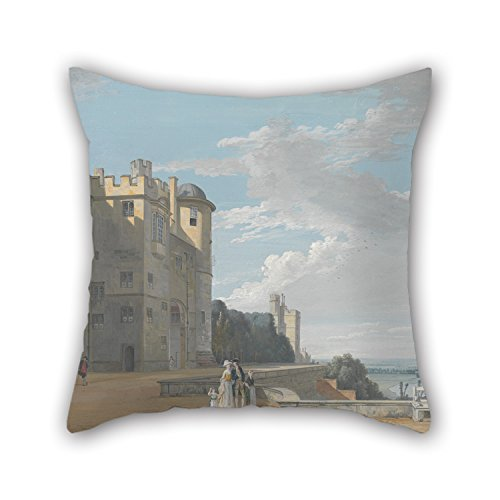 Oil Painting Paul Sandby - The North Terrace, Windsor Castle, Looking West Pillow Shams ,best For Kids Boys,bedding,adults,shop,boys,deck Chair 16 X 16 Inches / 40 By 40 Cm(each Side)