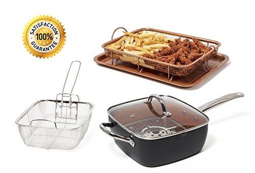 """Copper Steel Titanium Ceramic 9.5"""" Non-Stick Copper Deep Square Frying & Cooking Pan With Lid, Frying Basket, Steamer Tray, 4 Piece Set - Graphite BONUS Copper Crisper Tray AIR FRY As Seen on TV"""