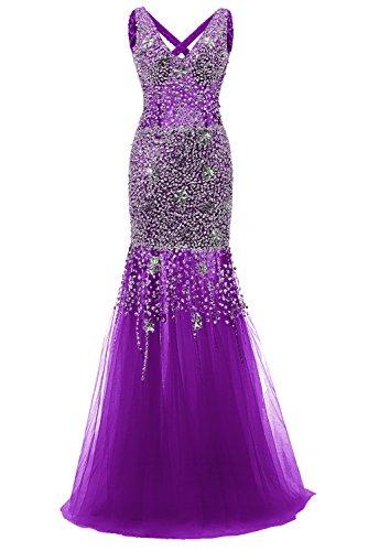 Bbonlinedress Vestido De Fiesta Sirena Escote En Pico Con Cuentas De Tul Violeta