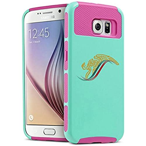 Samsung Galaxy (S7 Edge) Shockproof Impact Hard Soft Case Cover Mexico Eagle Escudo Aguila (Teal-Hot Pink) Sales