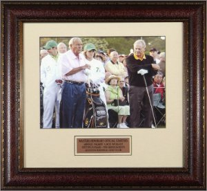 14 Deluxe Framed Collectible - Arnold Palmer unsigned 11X14 Photo 2010 Masters Official Starters Leather Framed w/Nicklaus - Golf Plaques and Collages