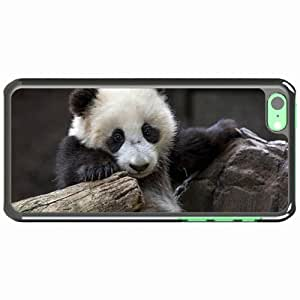 iPhone 5C Black Hardshell Case panda nature Desin Images Protector Back Cover