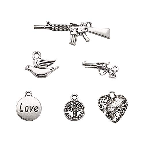 (Craftdady 30pcs Mixed Set of Antique Silver War and Peace Theme Pendants Tibetan Alloy Gun Heart Peace Sign Love Pigeon Charms Collection)