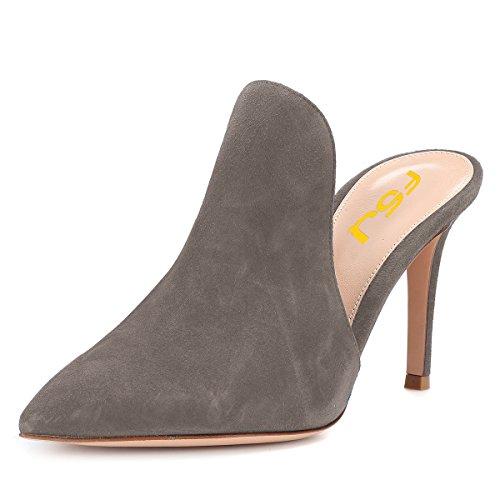 Sandalias De Muletón Brillante Mujer Fsj Sandalias Deslizamiento Tacones De Aguja Tacón Alto En Zapatos Tamaño 4-15 Us Gamuza Gris-8 Cm