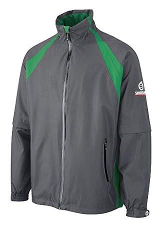 Sunderland Resort Convertible Ultra-soft Lightweight Waterproof Golf Jacket Charcoal/Emerald XXL