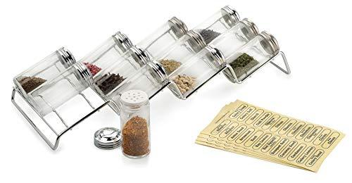 Kitchen Spice Rack and 12-Bottle Set – Endurance (Chrome) (3.25″h x 6.50″w x 17″L) spice racks