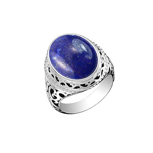 (12.50ctw, Genuine Lapis Oval & .925 Silver Plated Solitaire Ring Size-9)