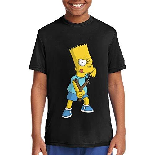 (Youth Boy's Simpson Teenage T-Shirt Cartoon T Shirts XL Gift Black)
