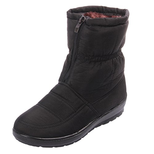 Mordenmiss Womens Front Zipper Fur Waterproof Snow Boots Warm Ankle Booties Black qywgP