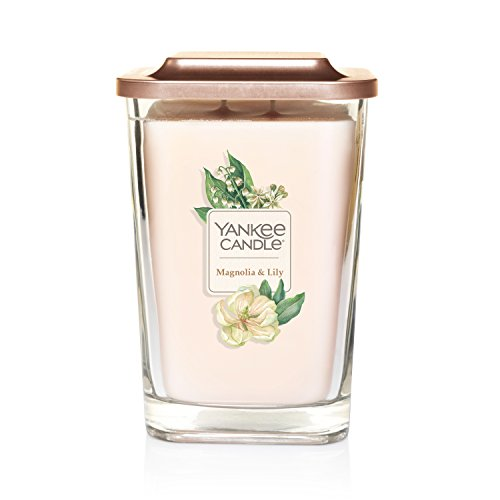 Yankee Candle Company Elevation Collection with Platform Lid, Large 2-Wick Square Candle | Magnolia & Lily