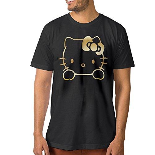 Hello-Kitty-Vinyl-Decal-Gold-Logo-Mens-T-Shirt-Black