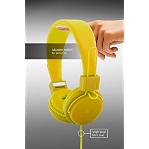 Polaroid PHP8500YL Neon Headphones with Mic, Foldable, Tangle-Proof, Compatible with All Devices, Yellow