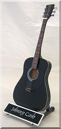 (JOHNNY CASH Miniature Guitar Martin Man in Black w/ Name Tag)