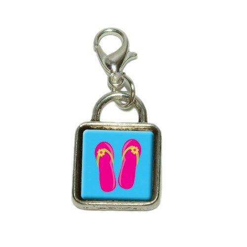 Tropical Sandals Flip Flops Pink Dangling Bracelet Pendant Square Charm