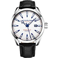 Stuhrling Original White Watch for Men Analog Watch Dial with Date - Black Calfskin Leather Band, 3953 Mens Watches Collection