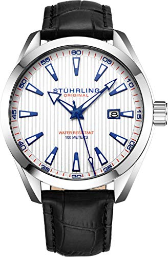 (Stuhrling Original White Watch for Men Analog Watch Dial with Date - Black Calfskin Leather Band, 3953 Mens Watches Collection)