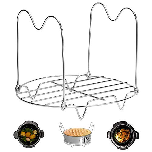 (Steamer Rack Trivet with Handles Compatible with Instant Pot Accessories 6 Qt 8 Quart, Pressure Cooker Trivet Wire Steam Rack, Great for Lifting out Whatever Delicious Meats & Veggies You Cook)