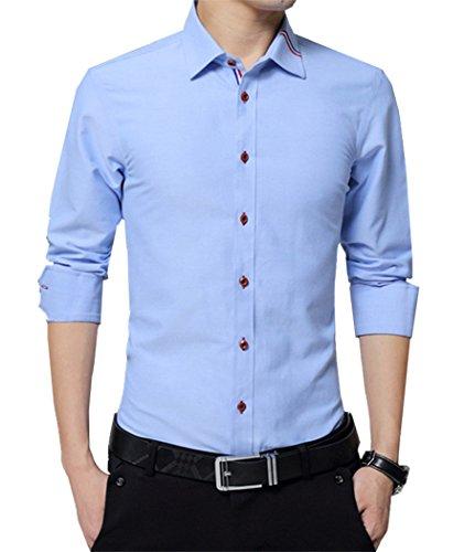 TAOBIAN Mens Casual Oxford Slim Fit Shirts Long Sleeve Button Down Dress Shirts Sky Blue US M(Tag 3XL)