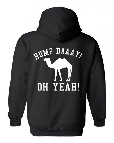 Men's/Unisex Zip-Up Hoodie Funny Hump Daaay Oh Yeah! Camel BLACK ( XL)