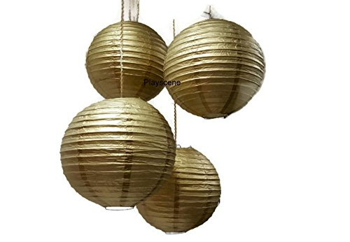 Chinese-Paper-Lanterns-Gold-12-Inch-Diameter-By-Playscene-Pack-of-6-GOLD