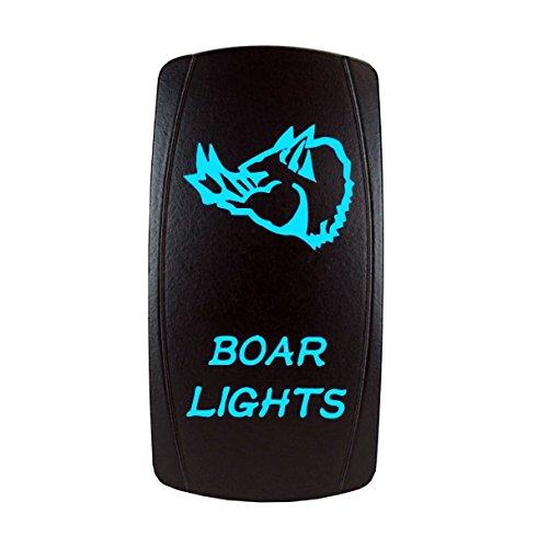 STV Motorsports Laser BOAR LIGHTS Blue Rocker Switch 20A 12V On-Off LED Light