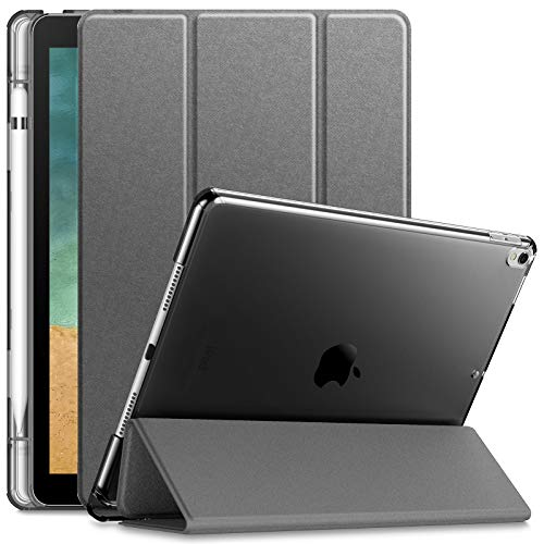 Infiland Case for iPad Air 3rd Generation 2019 / iPad Pro 10.5 2017, Translucent Frosted Back Smart Cover Case with Apple Pencil Holder, Grey