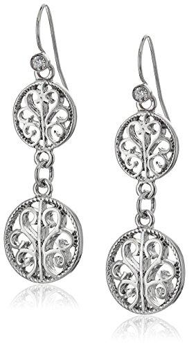 - 1928 Jewelry Silver-Tone Filigree Drop Earrings