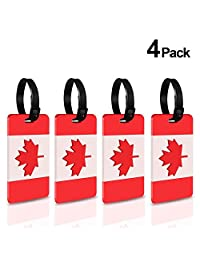 Luggage Tags, Foonii 4-Pack Canadian Flag Luggage Tag Labels, International Carry-on, Business Card Holder (Red/White)