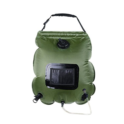 YINGLI SOLAR Solar Camping Shower Bag, 5-Gallon with Removable Hose and On-Off Switch-able Shower Head