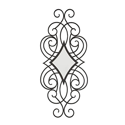 Ashley Furniture Signature Design – Oilbhe Diamond Shaped Scroll Design Metal Wall Mirror – Vertical Only – Traditional – Black
