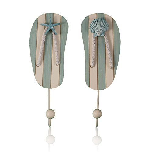 Tumbler Home-Tropical Flip Flop Wall Hooks - Set of 2 - 10 Inch Tall With Seashell and Starfish Accents by Tumbler Home (Flip Flop Home Decor)