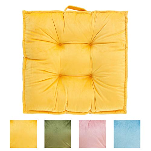 (blue page Large Square Velvety Floor Pillow - Big Chair Cushion Yellow Floor Pillows Seating Tatami Giant Futon Pad Window Pad Yoga Mat 23.6x23.6 Inches)