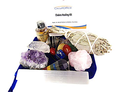 14 Piece Luxury Chakra Healing Crystals Set Includes 7 Charka Stones, Amethyst, Rose Quartz, Quartz Points, Selenite Sticks, Aroma Oil, White Sage, For Protection, Purifying, Meditation, or Gift ()