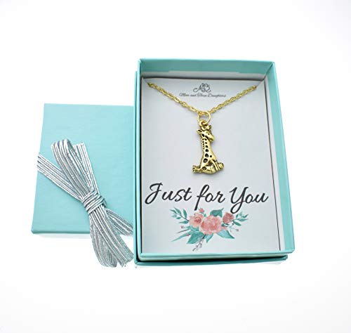 (Little girls giraffe necklace in 24K gold plated pewter on a 14 stainless steel cable chain with two inch extender. Giraffe Necklace.)