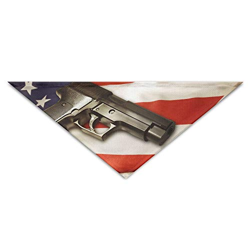 MuaePzdl America Flag Pistol Turban Triangle Scarf Bib Scarf Accessories Pet Cat and Baby Puppy Saliva Dog Towel ()