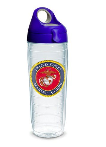 Tervis 1282372 Marines Classic Seal Flex Tumbler with Emblem and Blue with Gray Lid 24oz Water Bottle, Clear