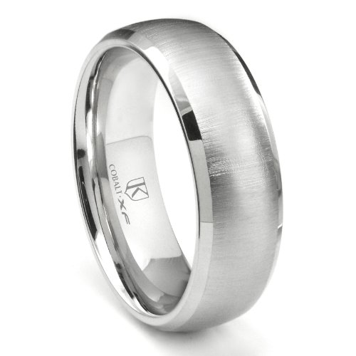 Cobalt XF Chrome 8MM Satin Finish Wedding Band Ring w/ Beveled Edges