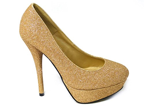 SKOS ,  Damen Pumps Gold (545-1)