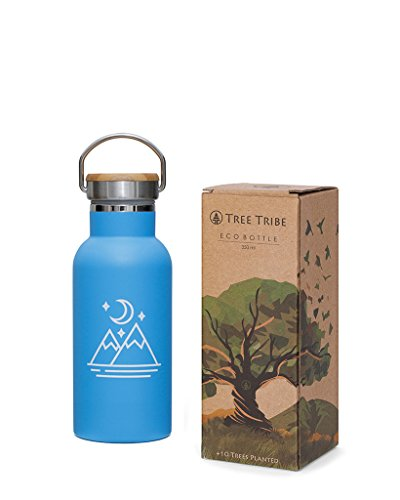Tree Tribe Stainless Steel Blue Water Bottle 12 Oz   Mountain And Moon   Indestructible  Bpa Free  100  Leak Proof  Double Wall Insulated For Hot And Cold  Wide Mouth