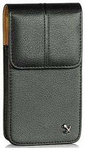 Viesrod Samsung Omnia i900 Black Grained Leather Vertical Case Pouch With Stitched Flap Hidden Magnetic Closure Built...