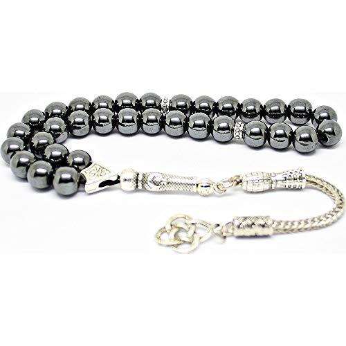 - LaModaHome Muslim Prayer Beads -%100 Natural Hematite Stone - Black & Sphere Shaped - 33 Beads - Decorated Tassels Made in Turkey & Tasbih & Muslim Rosary & Islamic Art & Islamic Gift