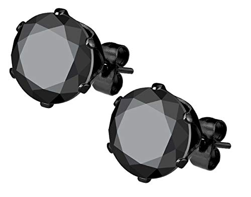 Stainless Steel Black IP Plated CZ Simulated Diamond Stud Earrings for Men (8mm)